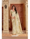 Light Beige Designer Traditional Wear Banarasi Soft Silk Saree