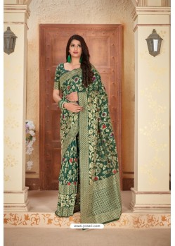 Dark Green Designer Traditional Wear Banarasi Soft Silk Saree