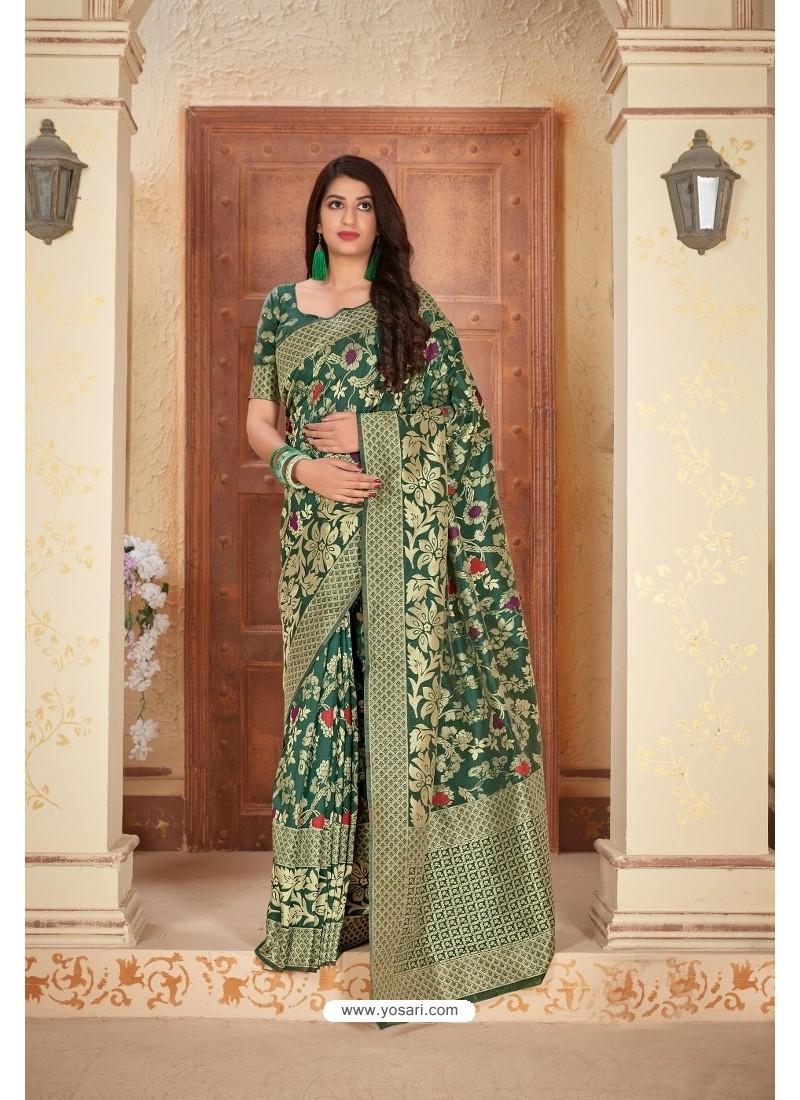 Dark Green Designer Traditional Wear Banarasi Soft Silk Saree