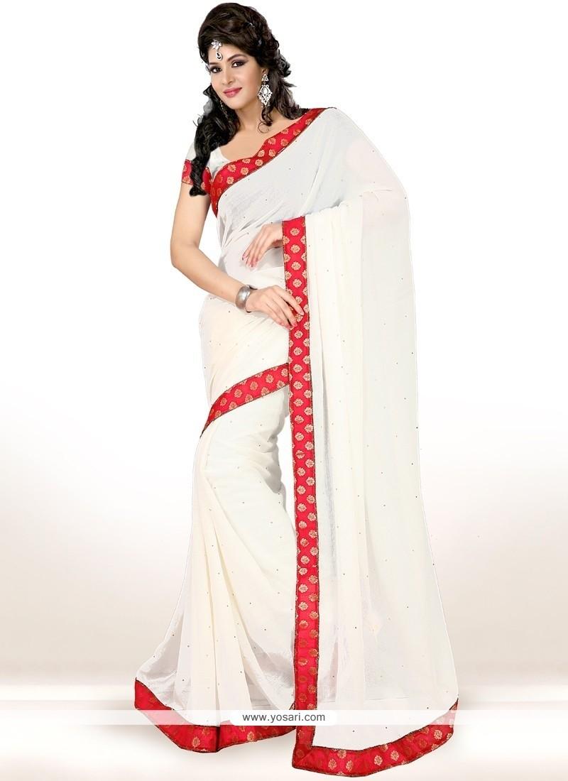 Impressive Faux Chiffon White Casual Saree