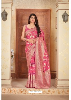 Rani Pink Designer Traditional Wear Banarasi Soft Silk Saree