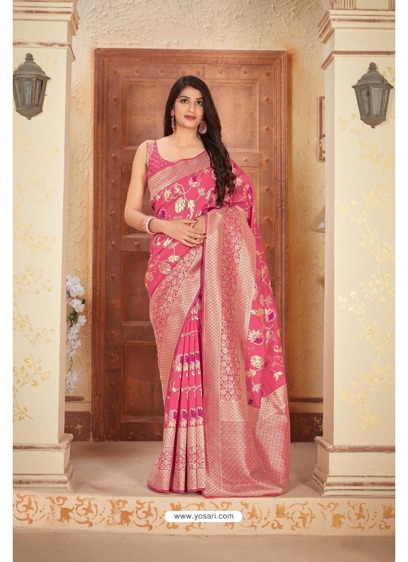 Rani Pink Designer Traditional Wear Banarasi Soft Silk Saree