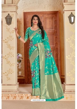 Aqua Mint Designer Traditional Wear Banarasi Soft Silk Saree
