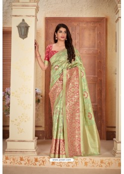 Green Designer Traditional Wear Banarasi Soft Silk Saree