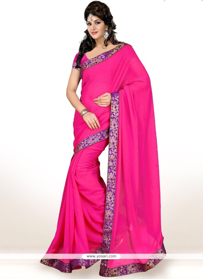 Lovable Hot Pink Lace Work Faux Chiffon Casual Saree