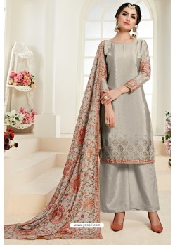 Taupe Heavy Embroidered Designer Palazzo Suit