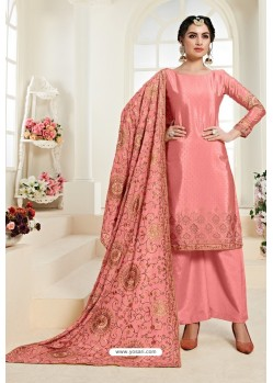 Peach Heavy Embroidered Designer Palazzo Suit