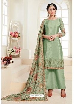 Green Heavy Embroidered Designer Palazzo Suit