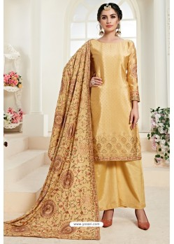 Yellow Heavy Embroidered Designer Palazzo Suit