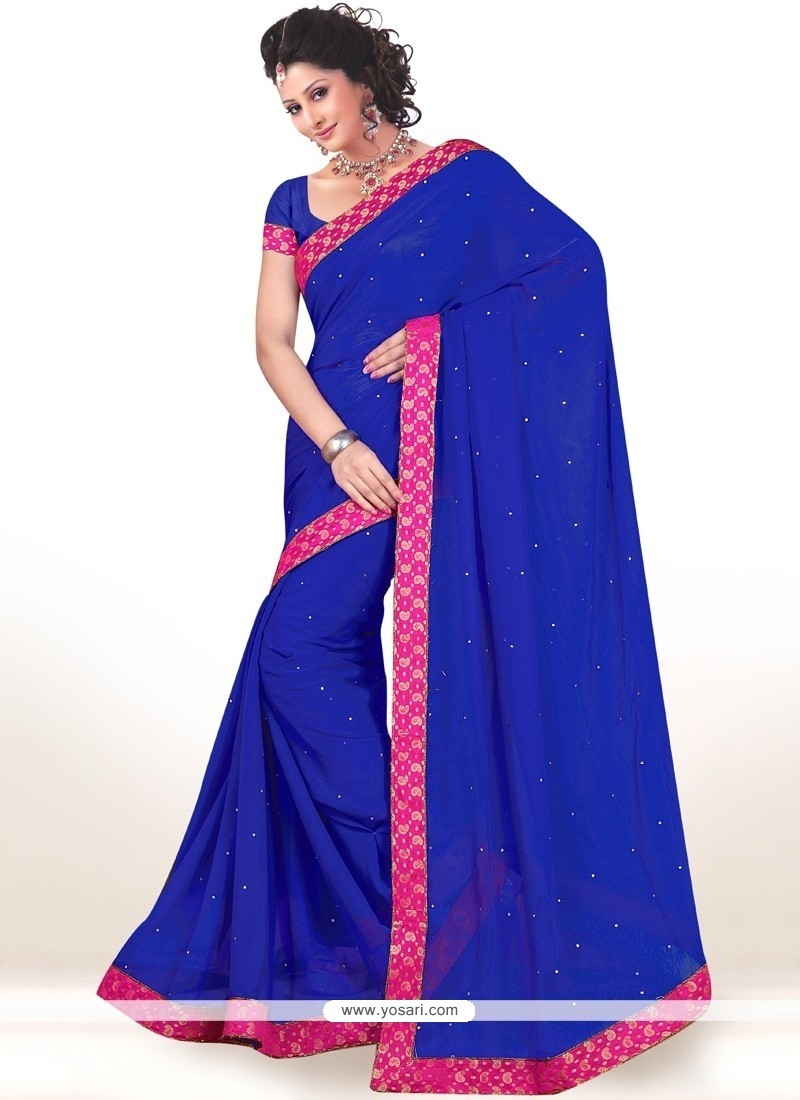 Magnificent Blue Lace Work Faux Chiffon Casual Saree