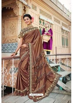Brown Designer Fancy Party Wear Lycra Saree