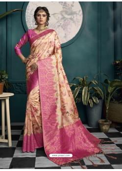 Rani And Cream Designer Traditional Wear Soft Art Silk Saree