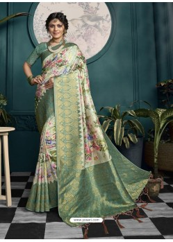 Sea Green Designer Traditional Wear Soft Art Silk Saree