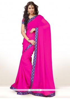 Alluring Faux Chiffon Hot Pink Casual Saree