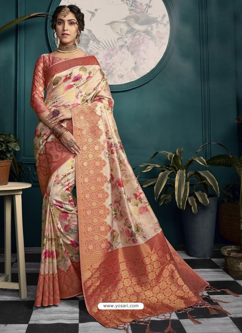 Red And Cream Designer Traditional Wear Soft Art Silk Saree