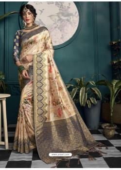 Navy And Cream Designer Traditional Wear Soft Art Silk Saree