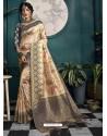 Navy And Cream Designer Traditional Wear Soft Art Silk Saree