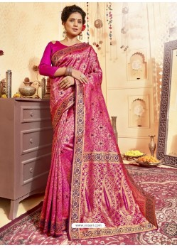 Rani Pink Designer Traditional Wear Jacquard Silk Saree
