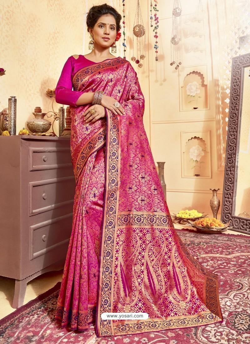 Rani Pink Designer Traditional Wear Jacquard Silk Saree
