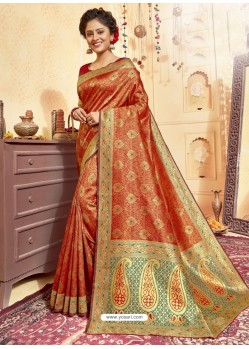 Orange Designer Traditional Wear Jacquard Silk Saree