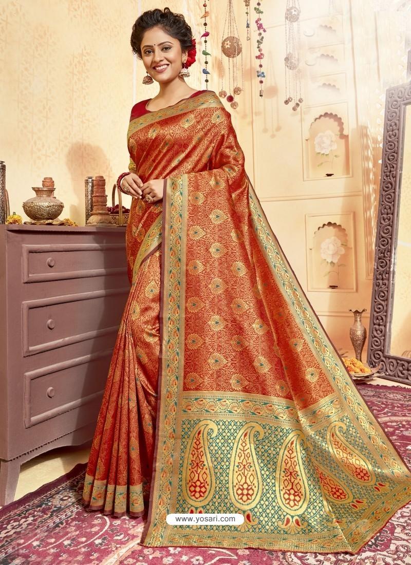 Orange Designer Traditional Wear Jacquard Silk Saree
