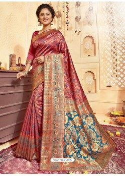 Maroon Designer Traditional Wear Jacquard Silk Saree