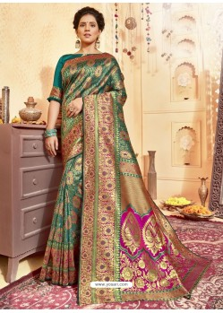 Dark Green Designer Traditional Wear Jacquard Silk Saree