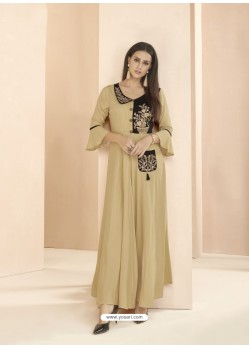 Beige Party Wear Readymade Heavy Rayon Long Kurti