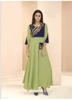 Green Party Wear Readymade Heavy Rayon Long Kurti