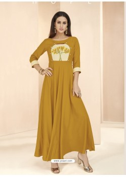 Mustard Party Wear Readymade Heavy Rayon Long Kurti