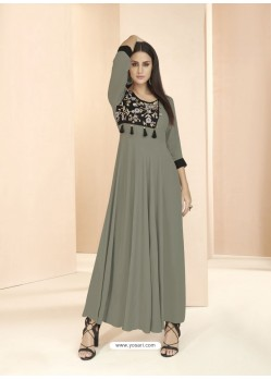 Grey Party Wear Readymade Heavy Rayon Long Kurti