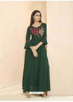 Dark Green Party Wear Readymade Heavy Rayon Long Kurti