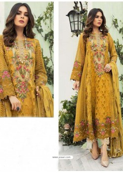 Mustard Party Wear Faux Georgette Floor Length Suit