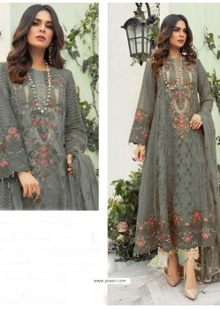Grey Party Wear Faux Georgette Floor Length Suit