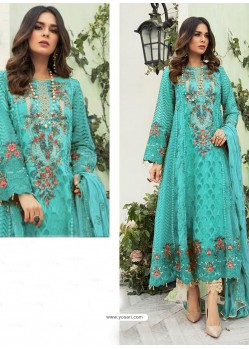 Sky Blue Party Wear Faux Georgette Floor Length Suit