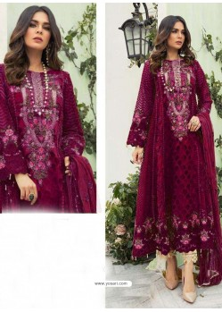 Deep Wine Party Wear Faux Georgette Floor Length Suit