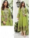 Green Party Wear Faux Georgette Floor Length Suit