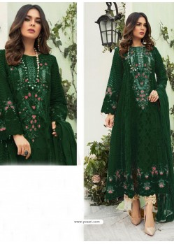 Dark Green Party Wear Faux Georgette Floor Length Suit