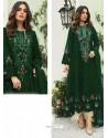 Dark Green Party Wear Faux Georgette Floor Length Suit