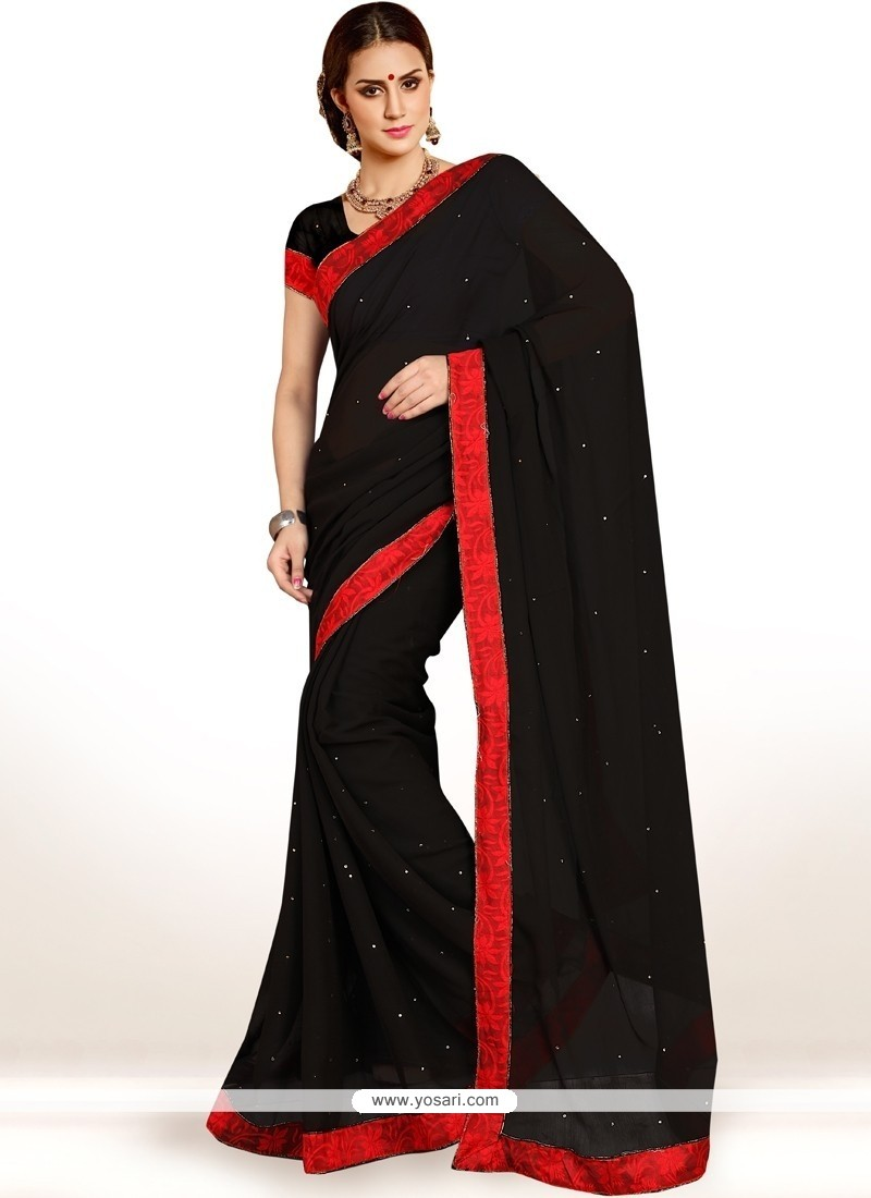 Beauteous Black Lace Work Casual Saree