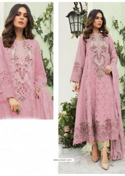 Pink Party Wear Faux Georgette Floor Length Suit