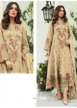 Cream Party Wear Faux Georgette Floor Length Suit