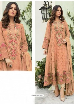 Peach Party Wear Faux Georgette Floor Length Suit