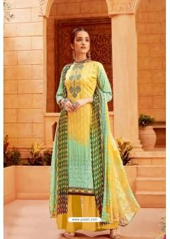 Yellow Latest Pure Zam Cotton Palazzo Suit