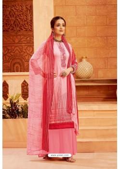 Pink Latest Pure Zam Cotton Palazzo Suit