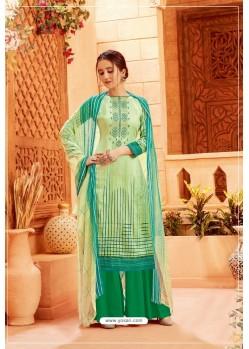 Sea Green Latest Pure Zam Cotton Palazzo Suit