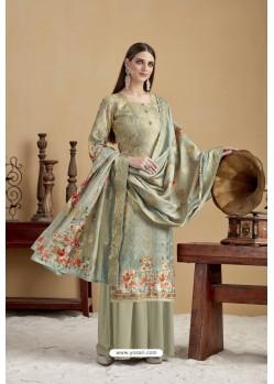 Olive Green Designer Banarasi Jacquard Palazzo Suit