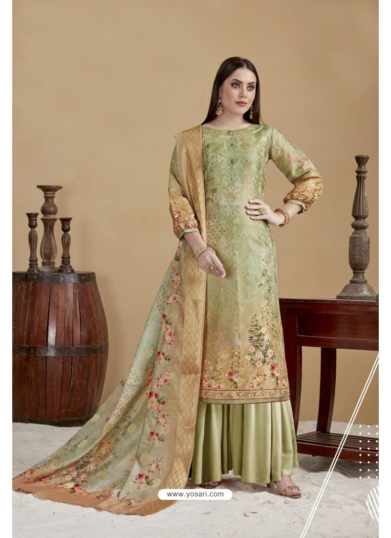 Latest Olive Green Digital printed Banarasi Jacquard Palazzo Suit