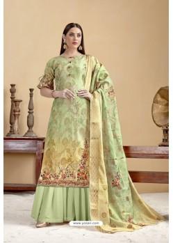 Green Designer Banarasi Jacquard Palazzo Suit
