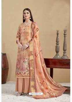 Peach Designer Banarasi Jacquard Palazzo Suit